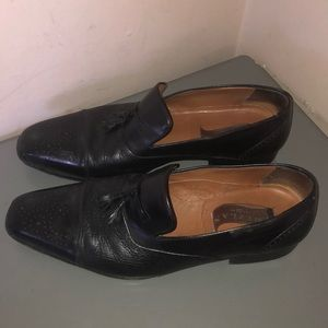 Men's Mezlan black leather dress shoes loafers 11